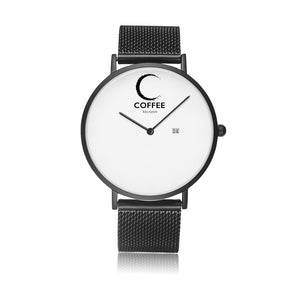 Open image in slideshow, COFFEE RELIGION COFFEE TIME Black Steel Minimalist Watch with date