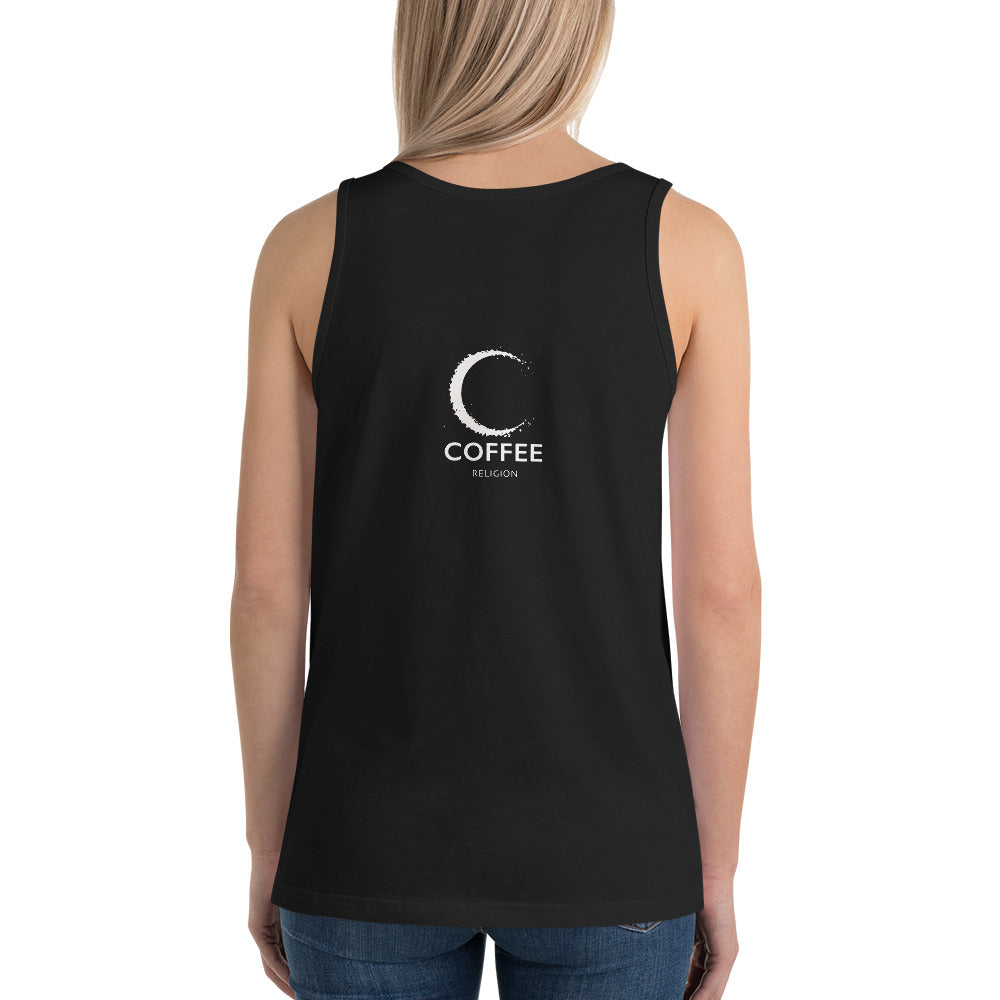 COFFEE RELIGION Unisex Racerback Tank Top Active Wear Yoga Coffee Shirt