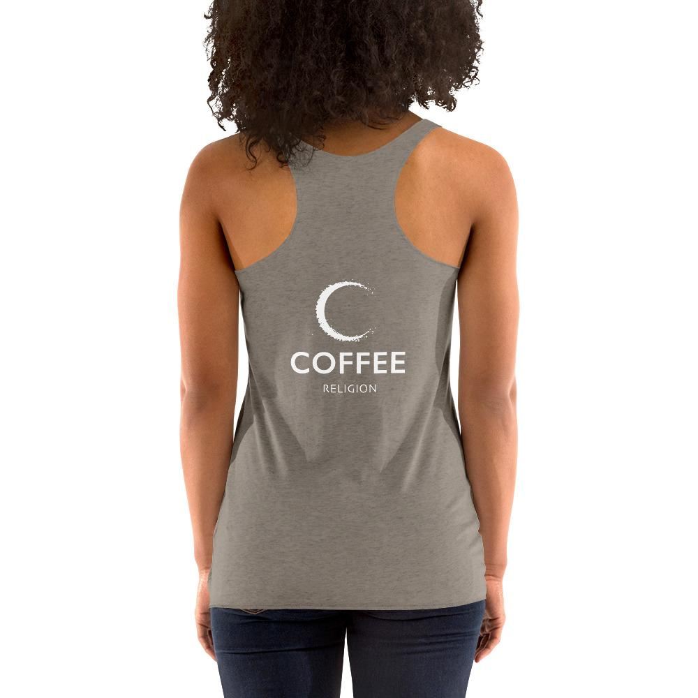 GIVE ME COFFEE by Coffee Religion Women's Racerback Yoga Tank T-Shirt - COFFEE RELIGION