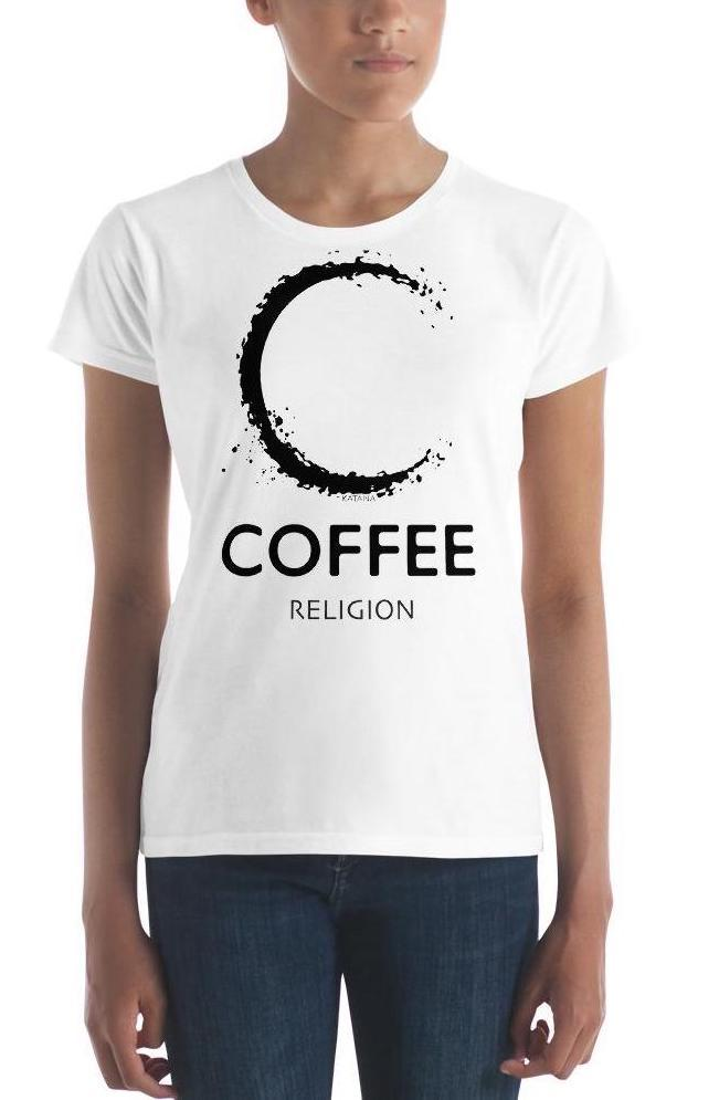 COFFEE RELIGION Designer Logo T-Shirt Women's Slim Fitted Tee - COFFEE RELIGION