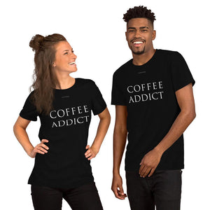 Open image in slideshow, COFFEE ADDICT Boyfriend Fit Unisex T-Shirt Short-Sleeve Tee - COFFEE RELIGION