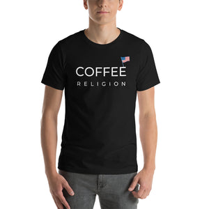 Open image in slideshow, COFFEE RELIGION 4th of JULY USA Flag Edition Unisex T-Shirt