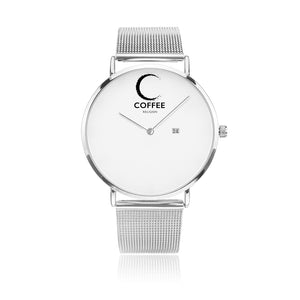 Open image in slideshow, COFFEE RELIGION COFFEE TIME Silver Steel Minimalist Watch with date