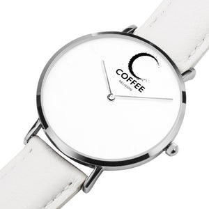 COFFEE RELIGION COFFEE TIME Naples White Leather Silver Steel Minimalist Watch