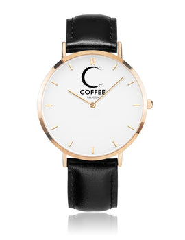 COFFEE RELIGION Hamptons Mark Coffee Time Watch - Black Leather Strap gold dial