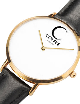 COFFEE RELIGION Hamptons Coffee Time Watch - Black Leather Strap gold dial
