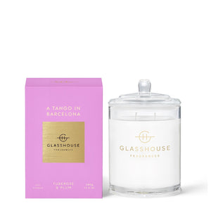 GLASSHOUSE TUBEROSE & PLUM - A TANGO IN BARCELONA 380G SOY CANDLE