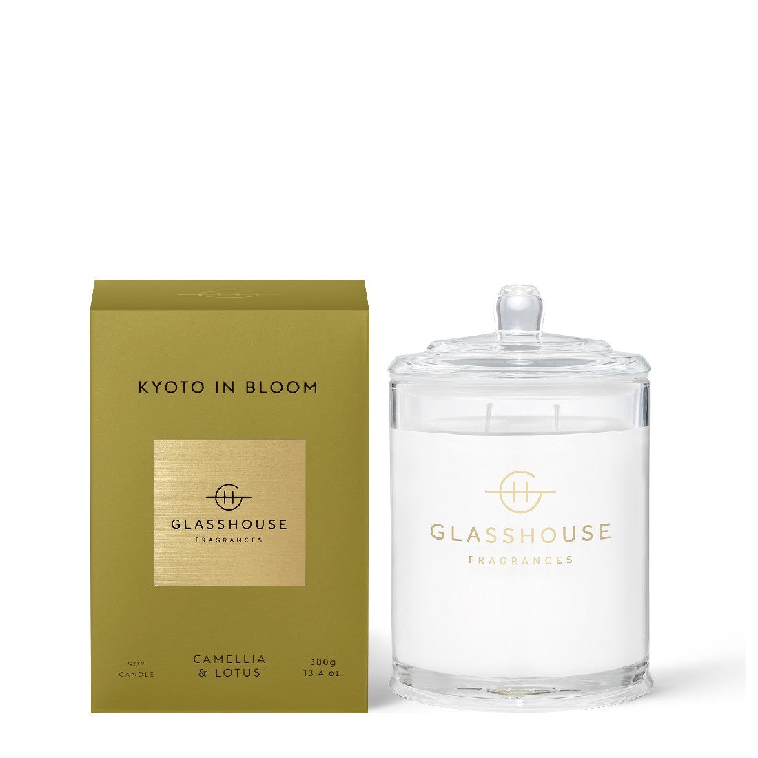 GLASSHOUSE CAMELLIA & LOTUS - KYOTO IN BLOOM 380G SOY CANDLE