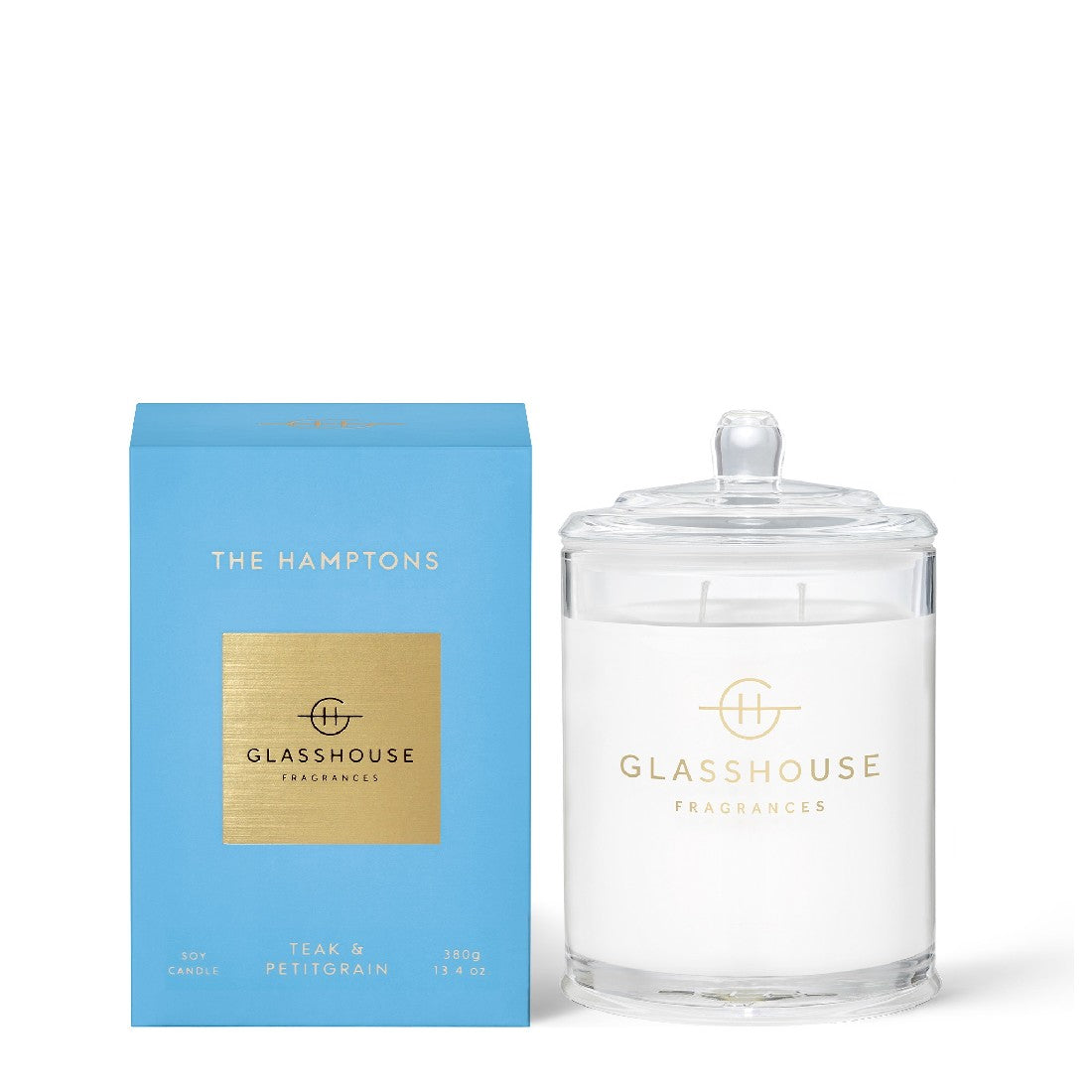 GLASSHOUSE TEAK & PETITGRAIN - THE HAMPTONS 380G SOY CANDLE