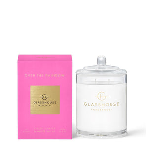 GLASSHOUSE VIOLET LEAVES & WHITE MUSK- OVER THE RAINBOW 380g SOY CANDLE