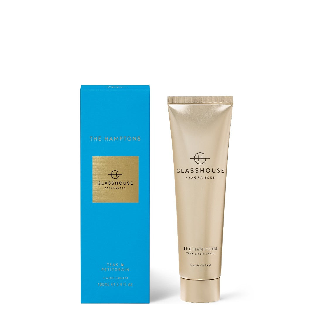 GLASSHOUSE TEAK & PETITGRAIN- THE HAMPTONS 100ml HAND CREAM