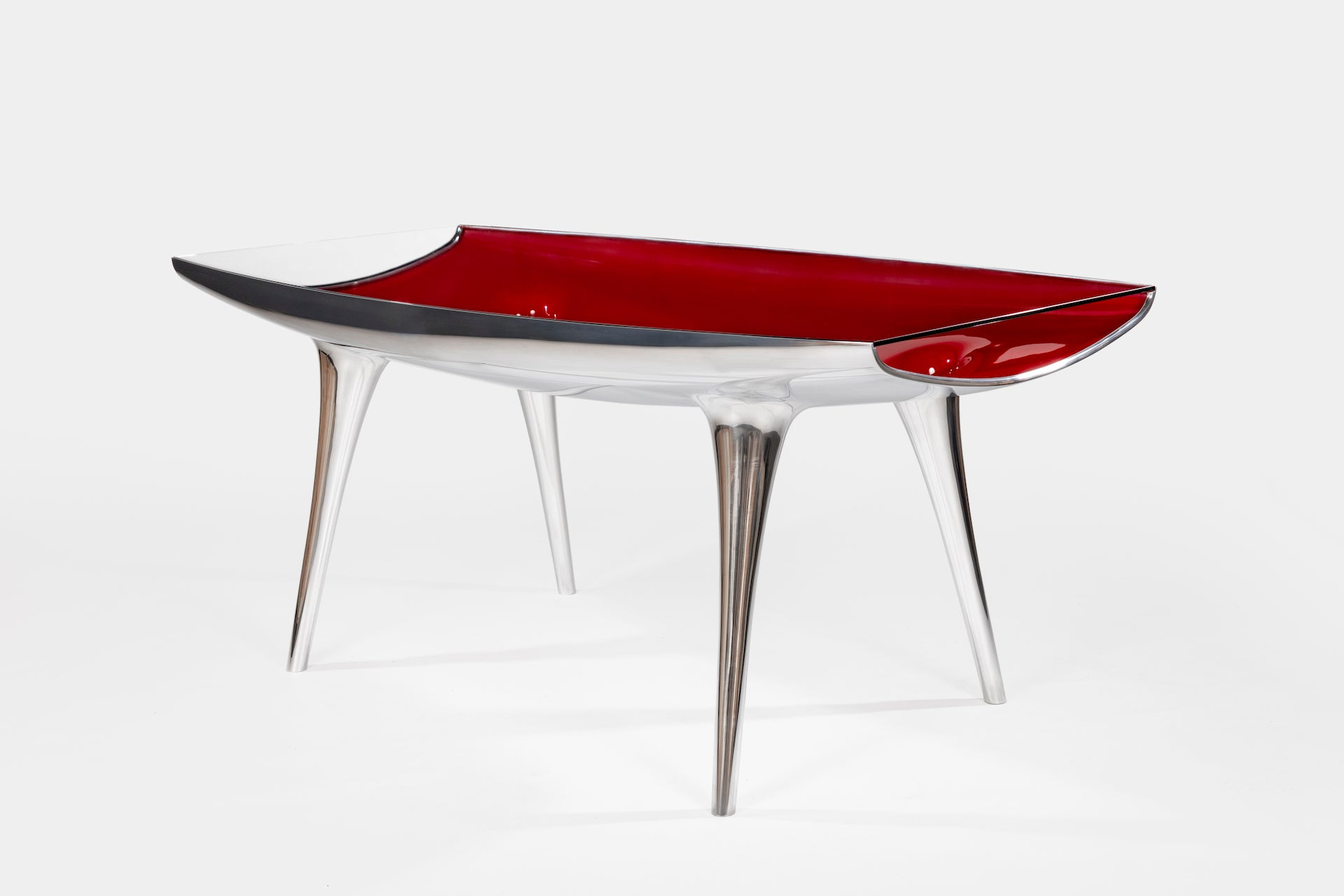 Event Horizon Chop Top Table by Marc Newson for Galerie Kreo, 1992/2006. Photo © Alexandra de Cossette; Courtesy of Galerie kreo