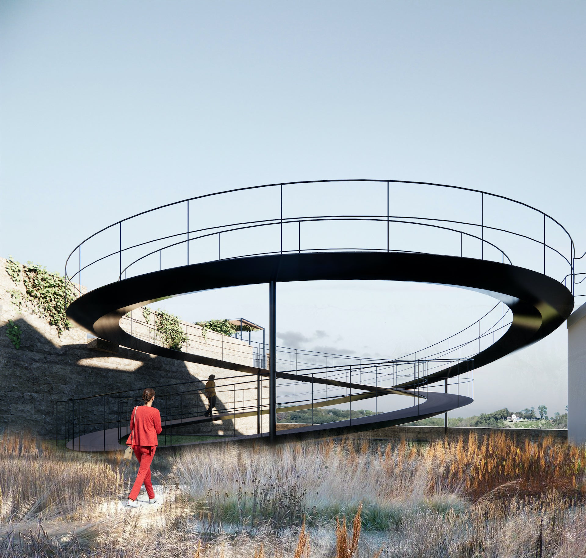 Mandrup's design includes poetic new structures, such as an infinity bridge. Photo © Dorte Mandrup Architects