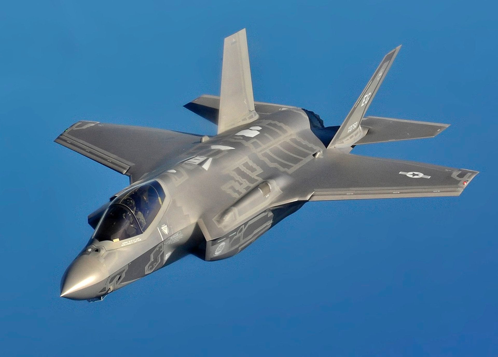 The Lockheed Martin USAF F-35A Lightning II stealth fighter is a symbol of the military-industrial complex and its impact on anti-Chinese sentiment in America. Photo © Master Sgt. Donald R. Allen / US Air Force, in the public domain