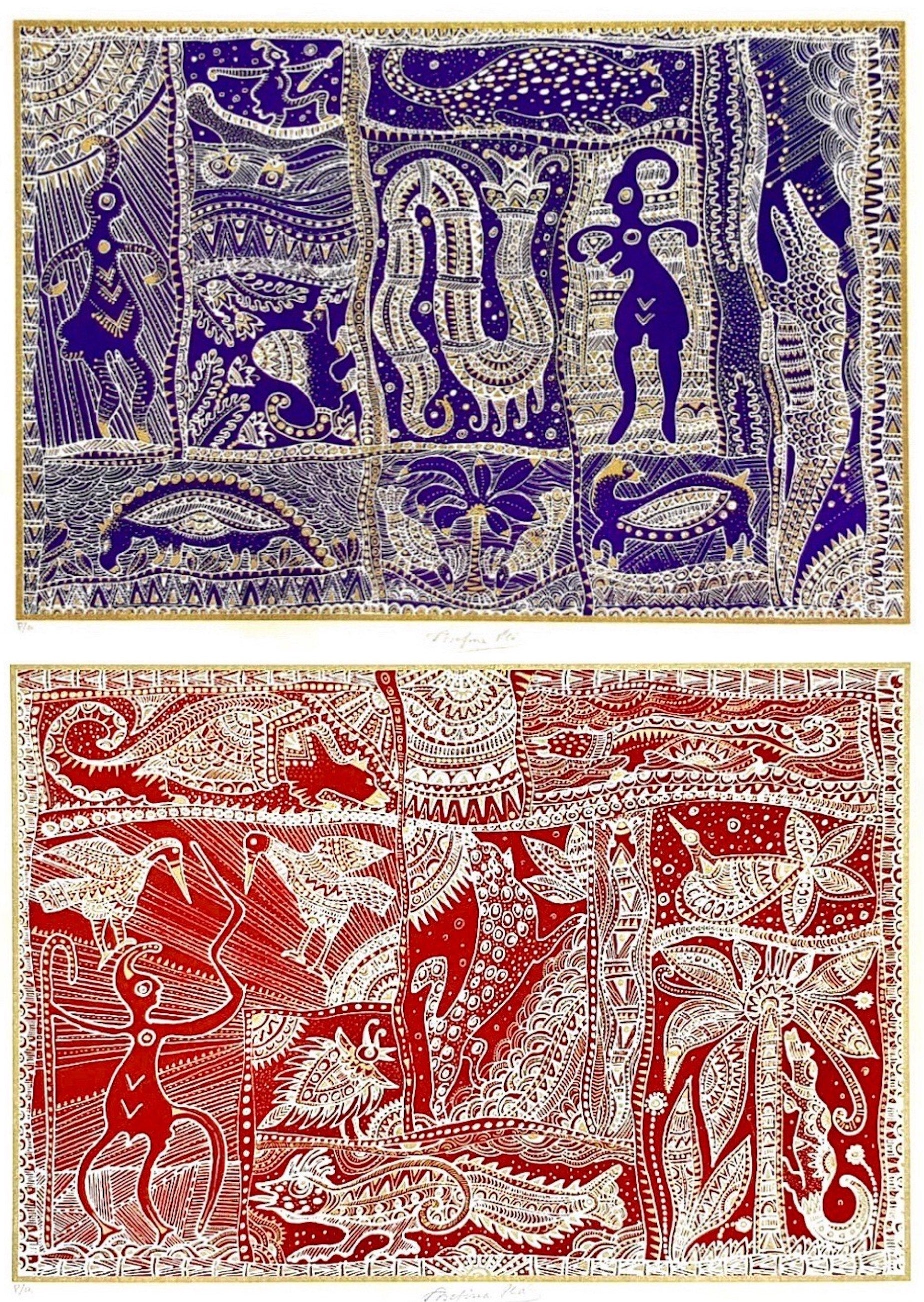 """Payaguá Series by Josefina Plá, Serigraphy, 1980. """"These works on paper by Renaissance woman Josefina Plá encapsulate my idea of America,"""" Barrail says, """"in their depictions of indigenous emotions and customs, as seen by a European intellectual living in the heart of South America. Plá was a poet, a playwright, a painter, ceramist, journalist, and teacher. A trailblazer who melded Old and New world sensibilities to create an original one without boundaries. A true America."""" Image courtesy of Pedro Barrail"""
