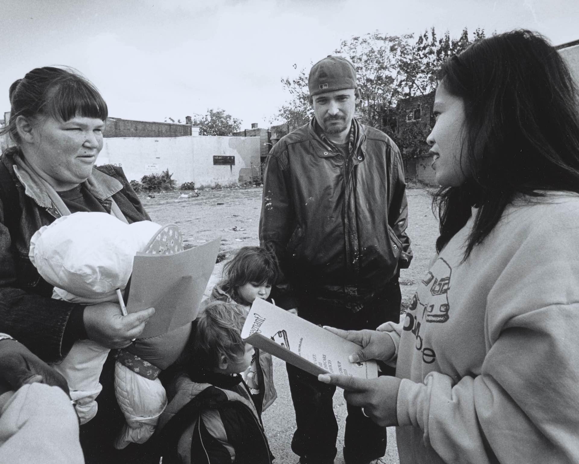 Maternity Care Coalition staff serving client in Philadelphia, 1980s. Photo by Jerry Millevoi; courtesy of MCC and the University of Pennsylvania Library Archives