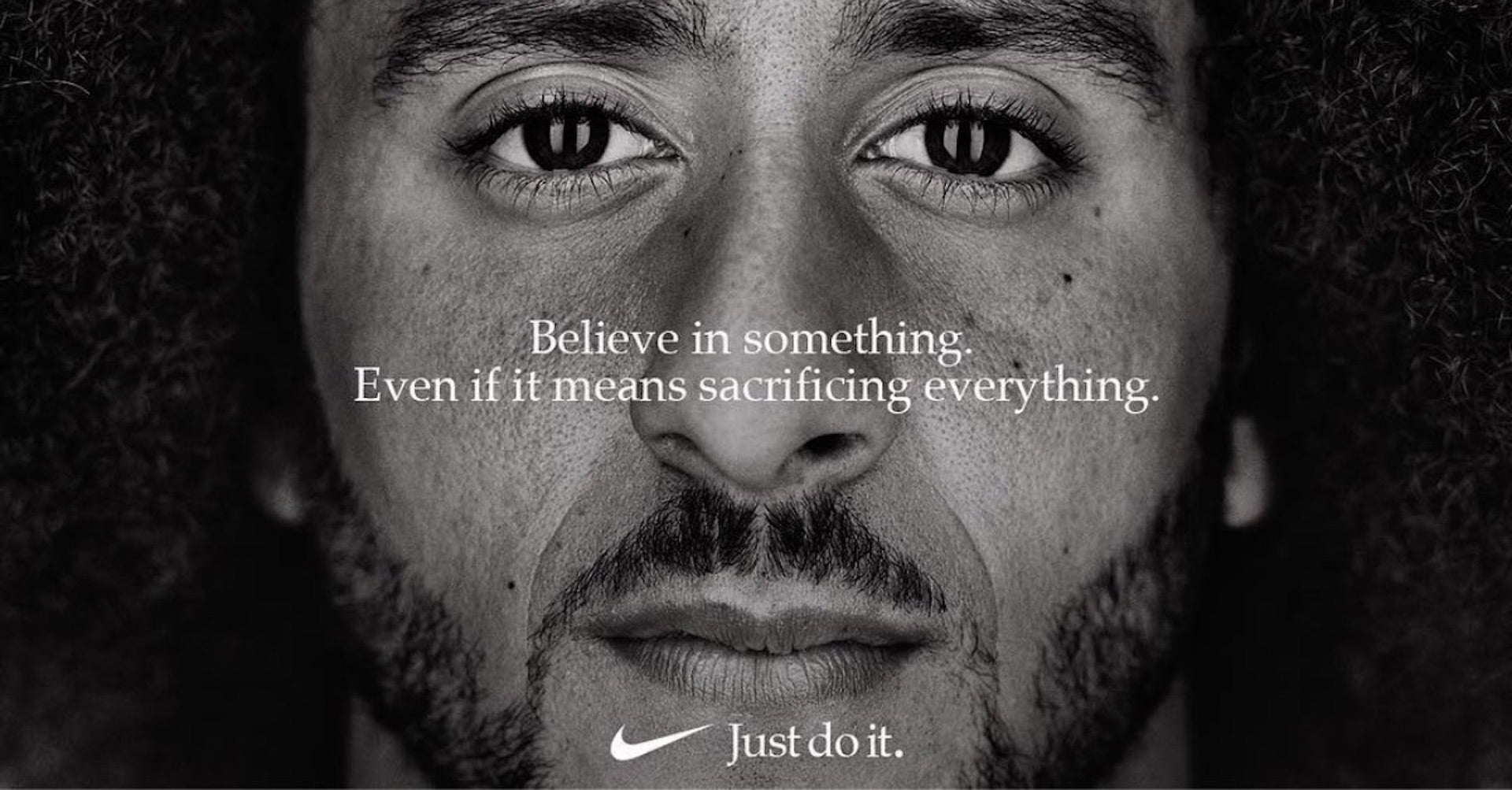 Nike's EQUALITY campaign, featuring athlete and activist Colin Kaepernick; part of the brand's 30th anniversary of its iconic Just Do It campaign. Image © Nike