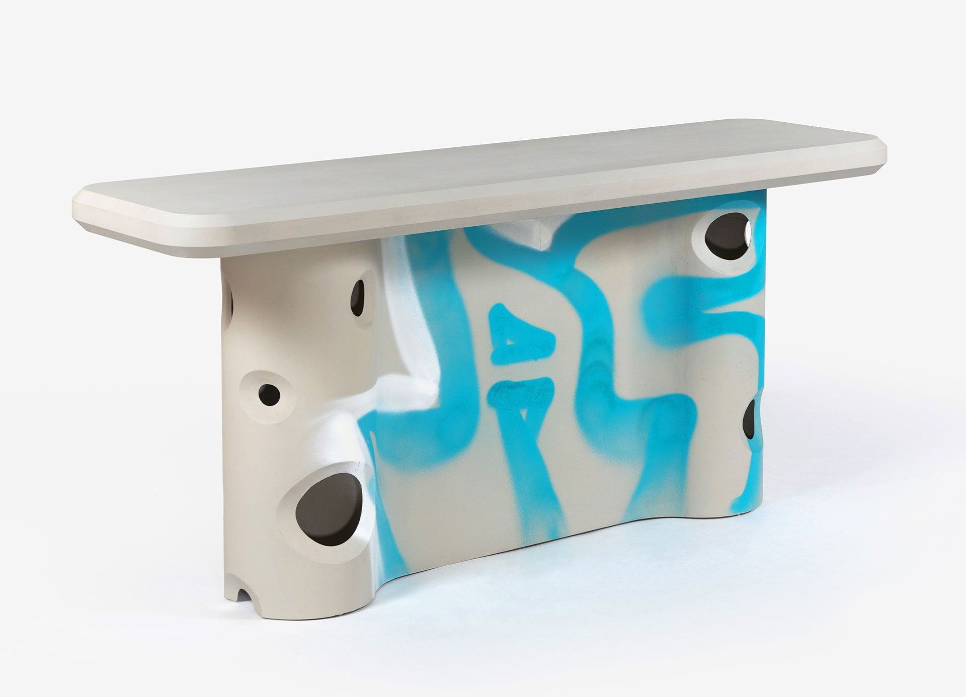 Efflorescence Console/ Virgil Abloh, 2020/ Concrete and resin with hand-painted graffiti/ Courtesy of Galerie kreo, Alexandra de Cossette