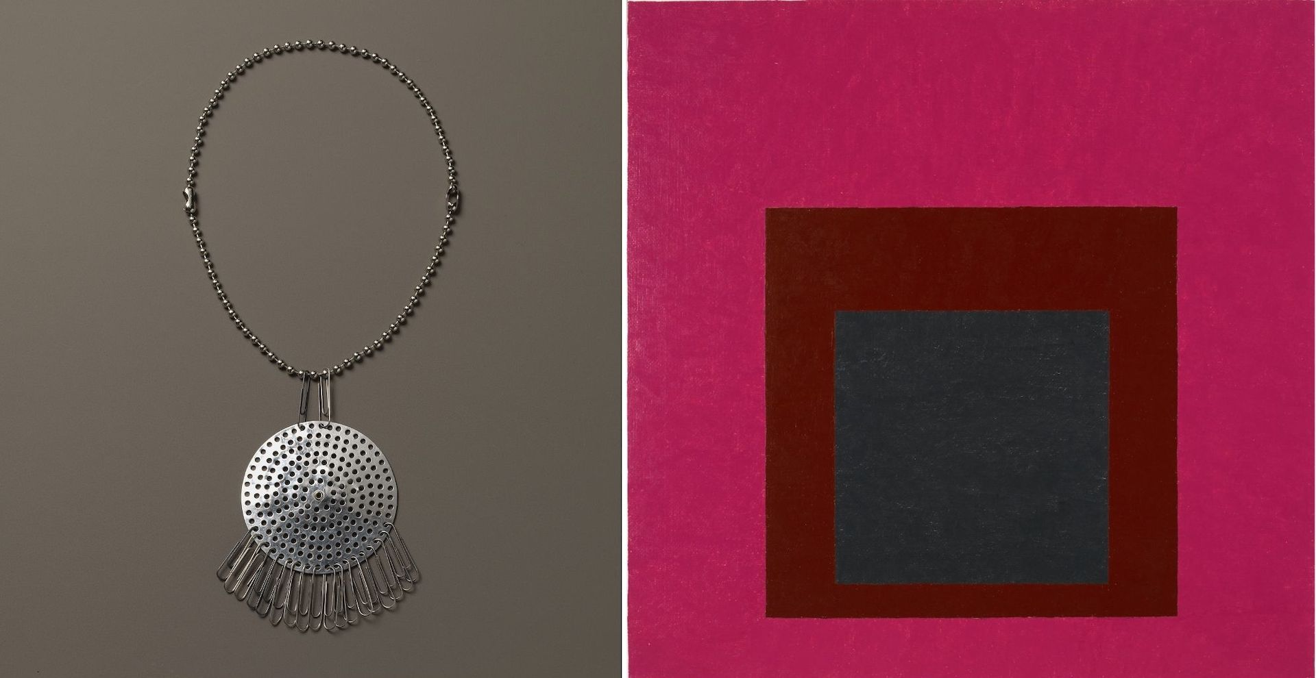 Collier by Anni Albers & Alexander Reed, c. 1940. Homage to the Square: Guarded by Josef Albers, 1952. The Josef and Anni Albers Foundation © 2021 The Josef and Anni Albers Foundation/Artists Rights Society (ARS), New York/ADAGP, Paris 2021