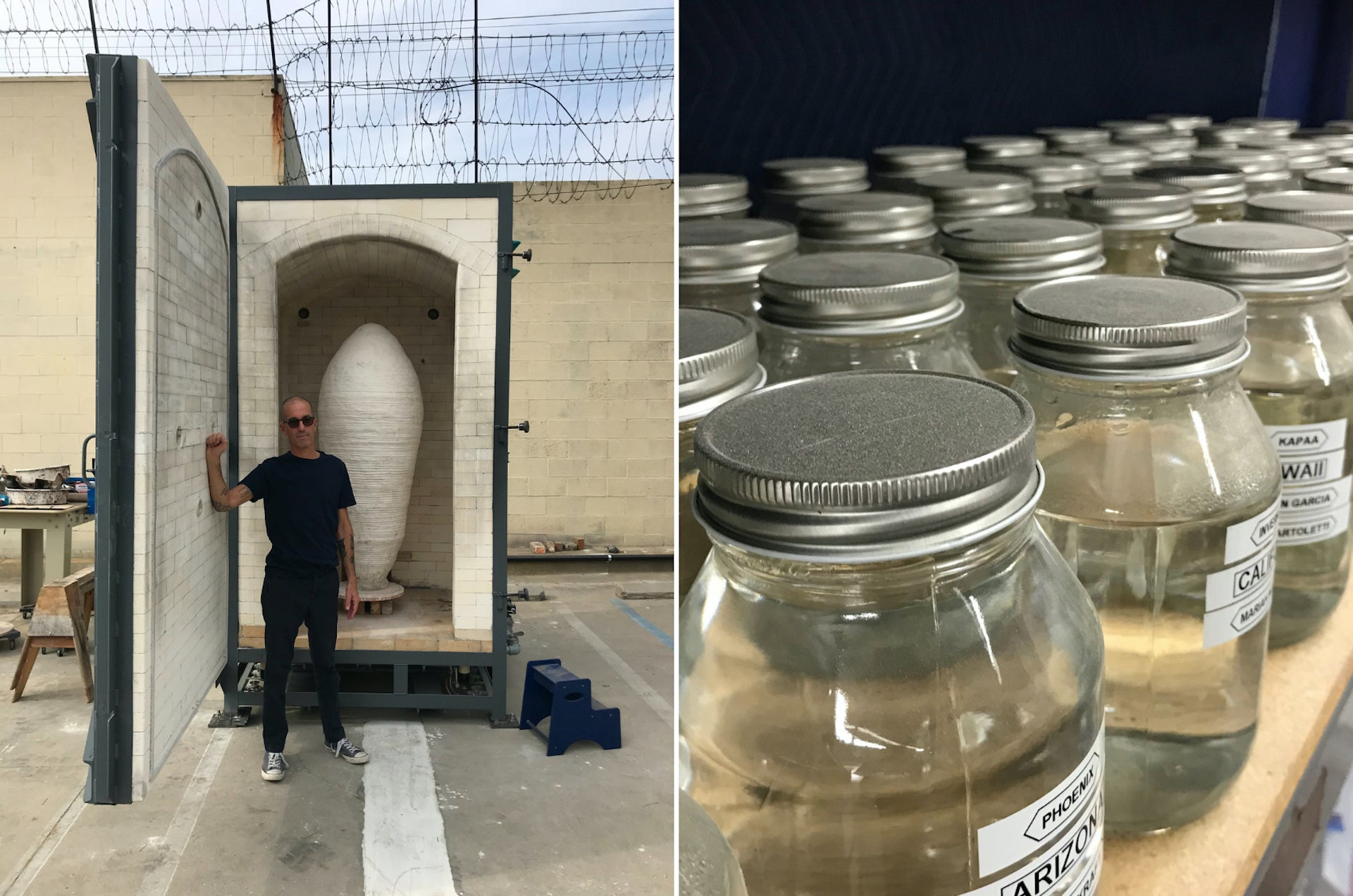 Adam Silverman at work in his Atwater Village, Los Angeles studio. | Jars of water from the 56 US Territories for Common Ground. Photos © Brent Lewis