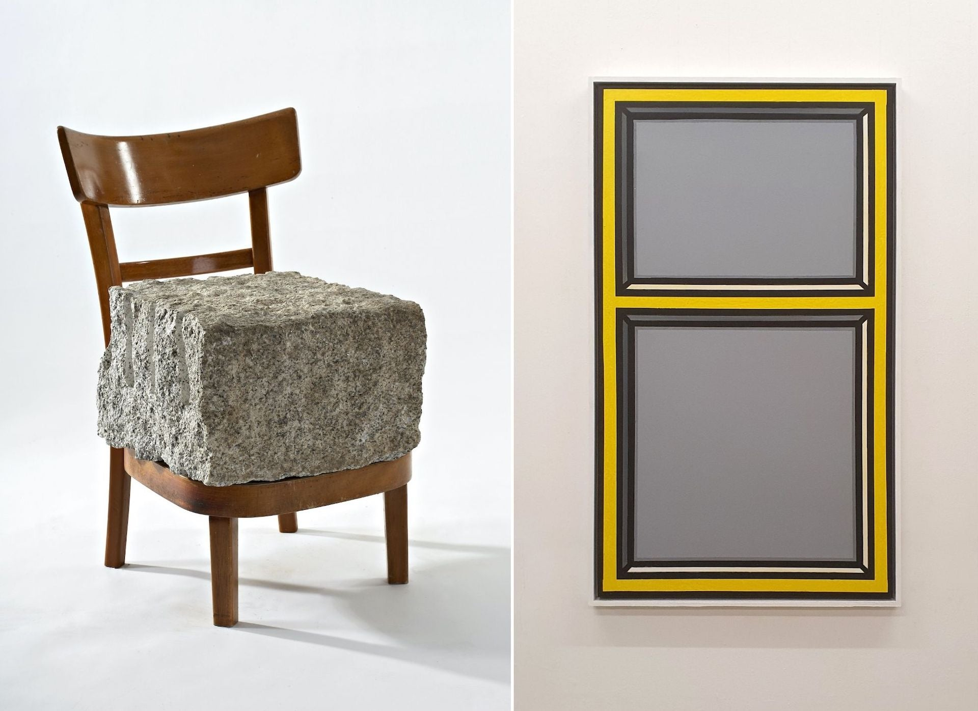 Chip on the Shoulder by Rolf Sachs, 1999, and Painted Yellow Window by Richard Woods, c. 2019. Photos courtesy of ammann//projects