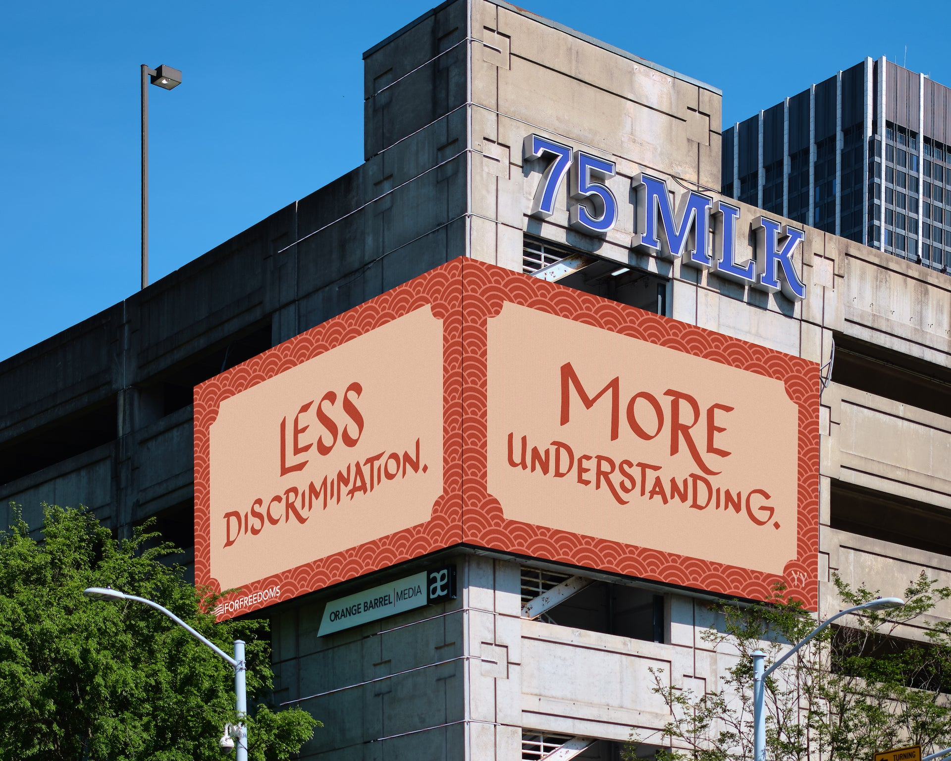 Designed by artist San Francisco artist Christine Wong Yap, this billboard is installed on Martin Luther King Jr. Drive in Atlanta. Photo © For Freedoms