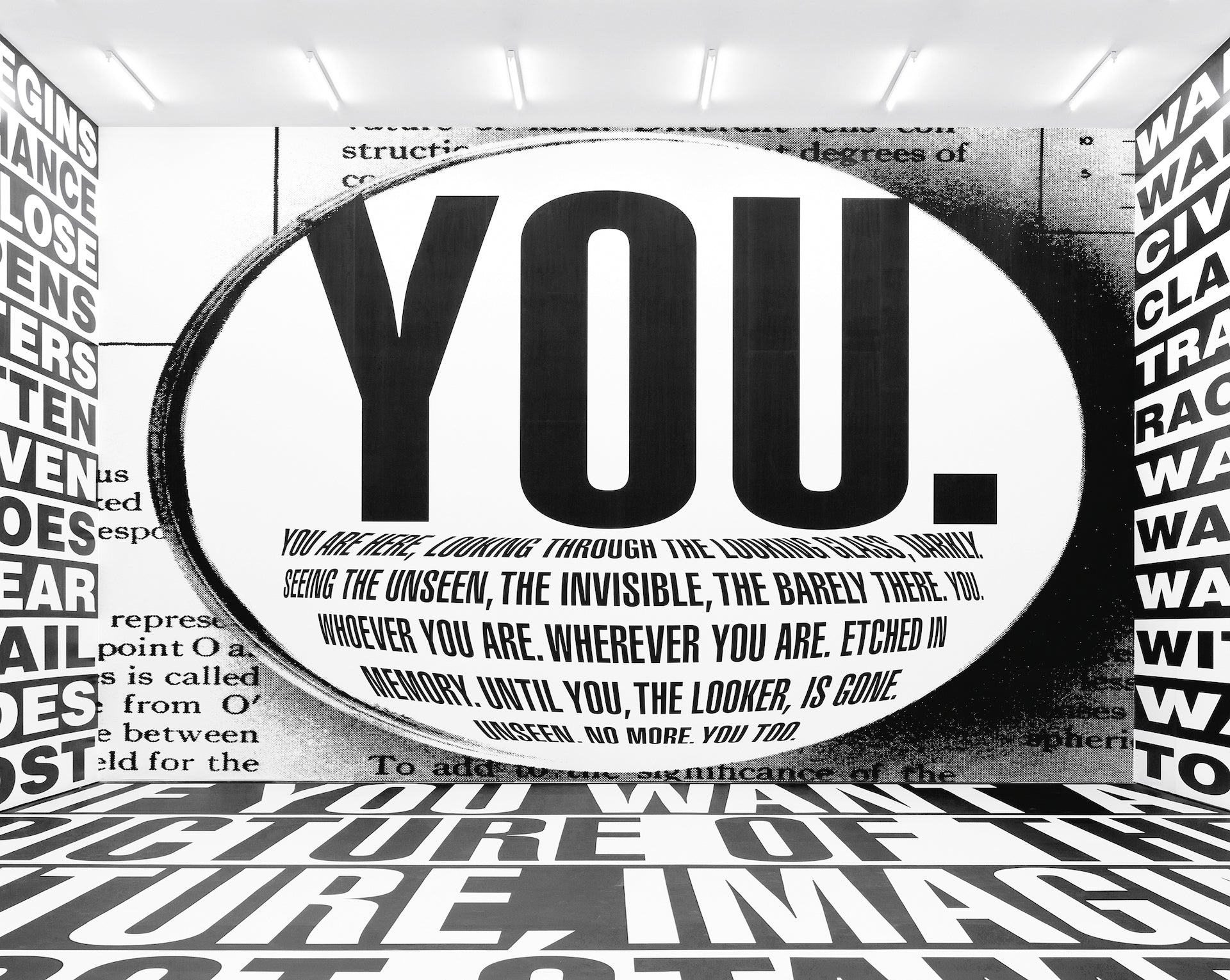 Untitled (Forever) by Barbara Kruger, 2017. Installation view, Sprüth Magers, Berlin, 2017–18. Amorepacific Museum of Art (APMA), Seoul. Photo by Timo Ohler; courtesy of Sprüth Magers