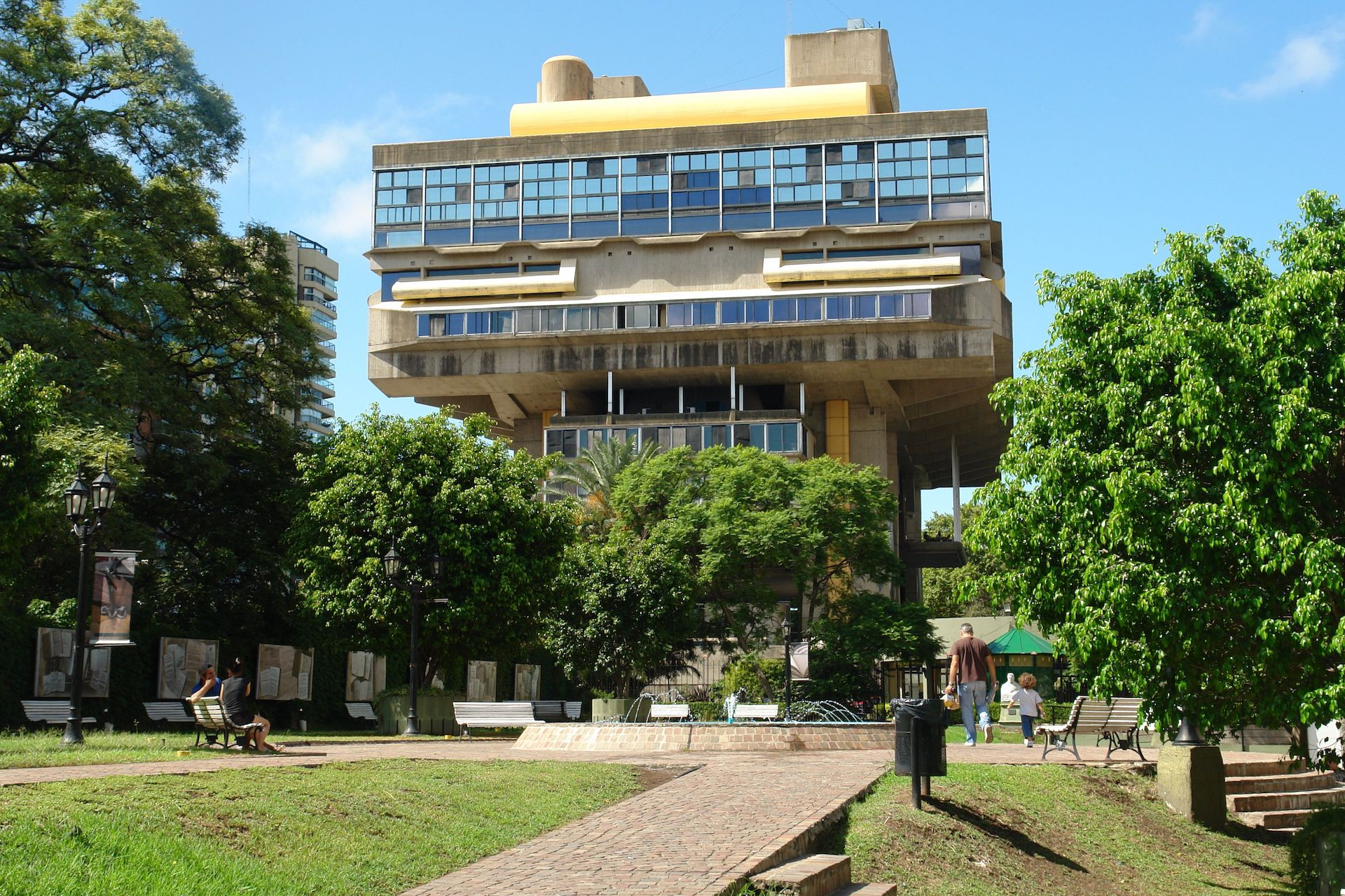 """This is the glorious brutalist National Library in Buenos Aires,"" Bottoni says, ""designed by Clorindo Testa. Many locals favor the grand European style buildings and find it plain ugly. For me, it's something else: a peaceful study place with one of the best river views of the city—and open for everyone. I always enjoyed my hours spent there overlooking the river."" Photo © 	Evelyn Proimos via Flickr"
