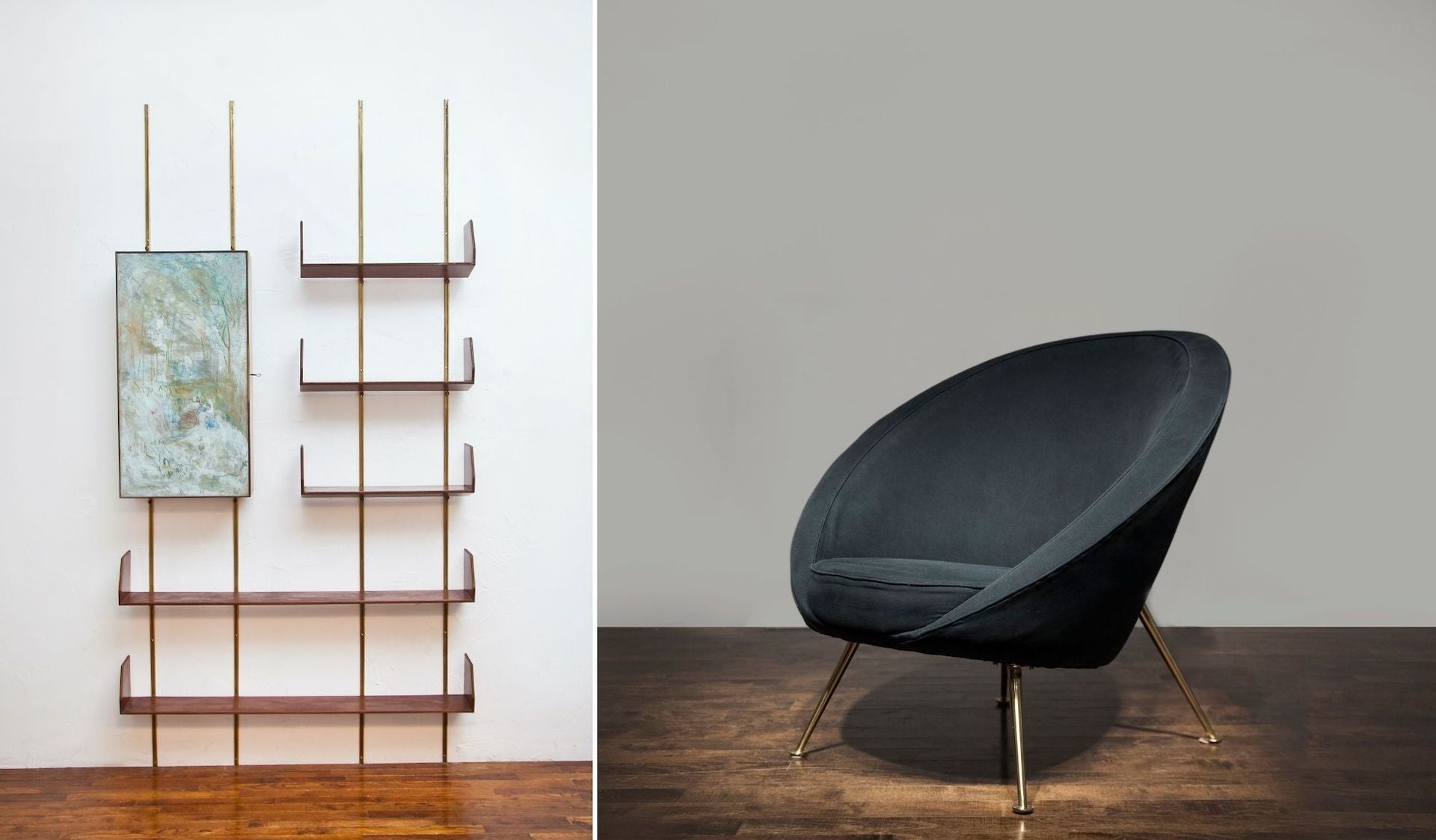 Shelving System by Osvaldo Borsani with Integrated Bar by Adriano di Spilimbergo, c. 1950; Rare Early Egg Chair by Ico Parisi, 1951. Photos © Nicholas Kilner