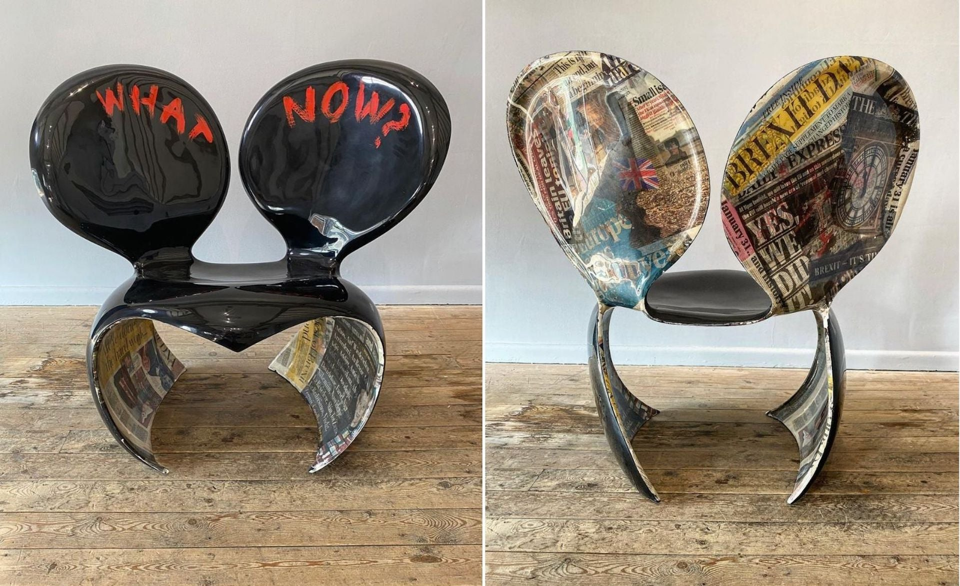 What Now (Brexit Chair) by Ron Arad, 2020, on view at Newlands House Gallery. Photo © Newlands House Gallery