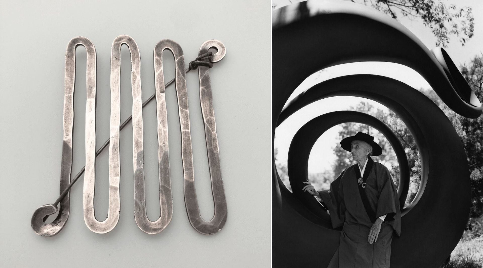 Unique Silver Vermicular Brooch by Alexander Calder, 1949. Georgia O'Keefe wearing a brooch by Calder, photographed by Bruce Weber. Photos courtesy of Didier Ltd.