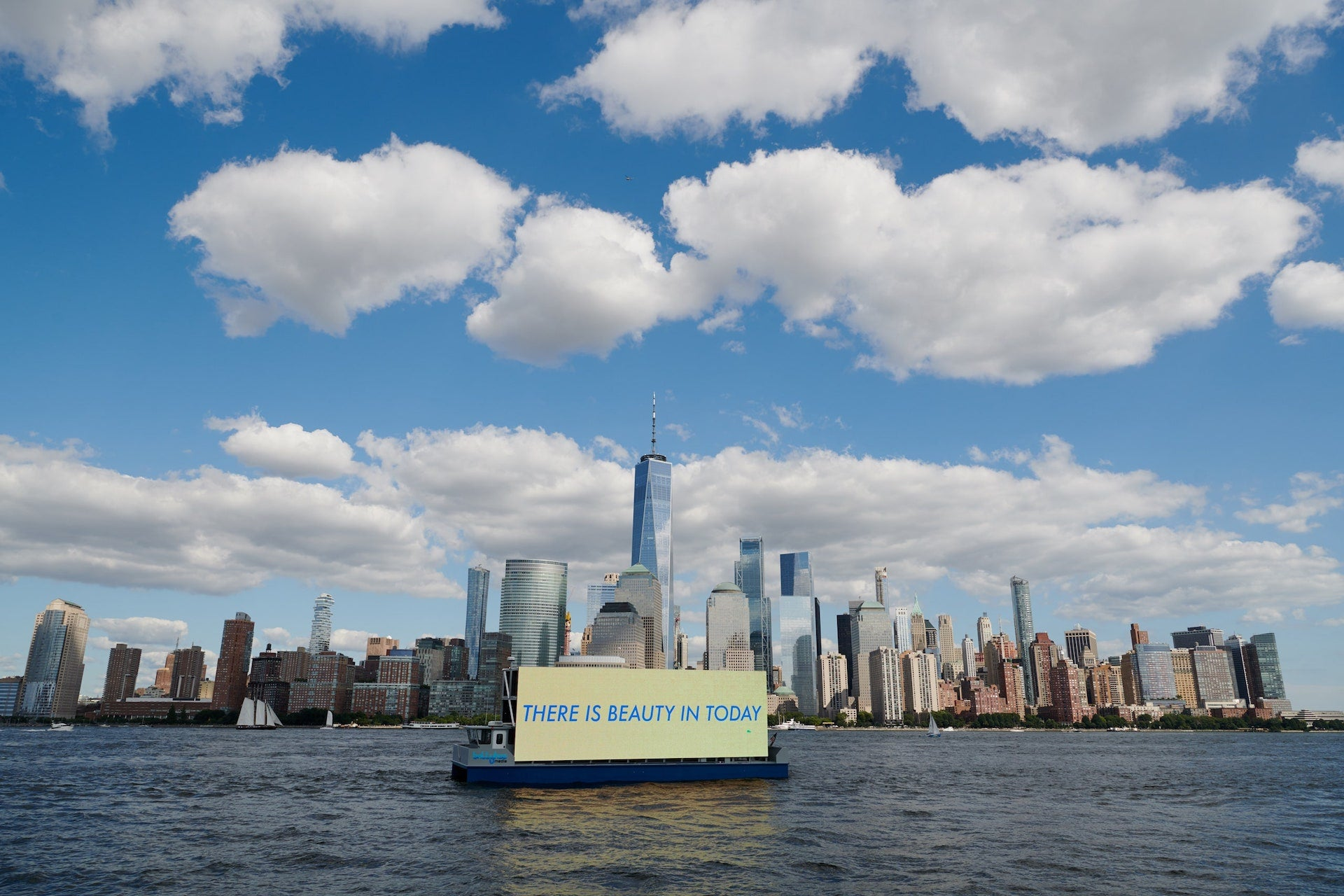 """Another paragon of American design: """"I can't manage to look away from this. It looks like a billboard learning to swim. It's an ingenious invention for an era of sea-level rise and high real estate prices. Even when it is used to advertise, it looks like an artwork."""" Photo © Ballyhoo Media"""