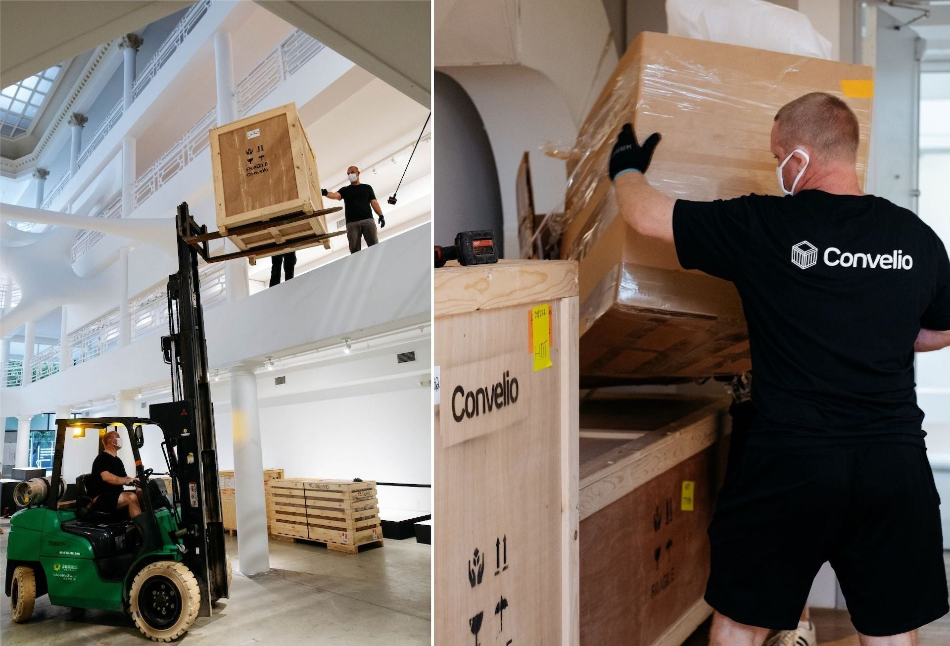 Convelio loading in crates at Design Miami/ 2020. Photo © Adinayev