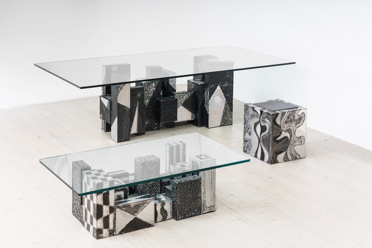 Argente Skyline Dining Table, 1973; Argente Cube Table (PE-37), c. 1970; Argente Skyline Low Table, 1973. Photo © Simon Leung; courtesy of Todd Merrill Studio