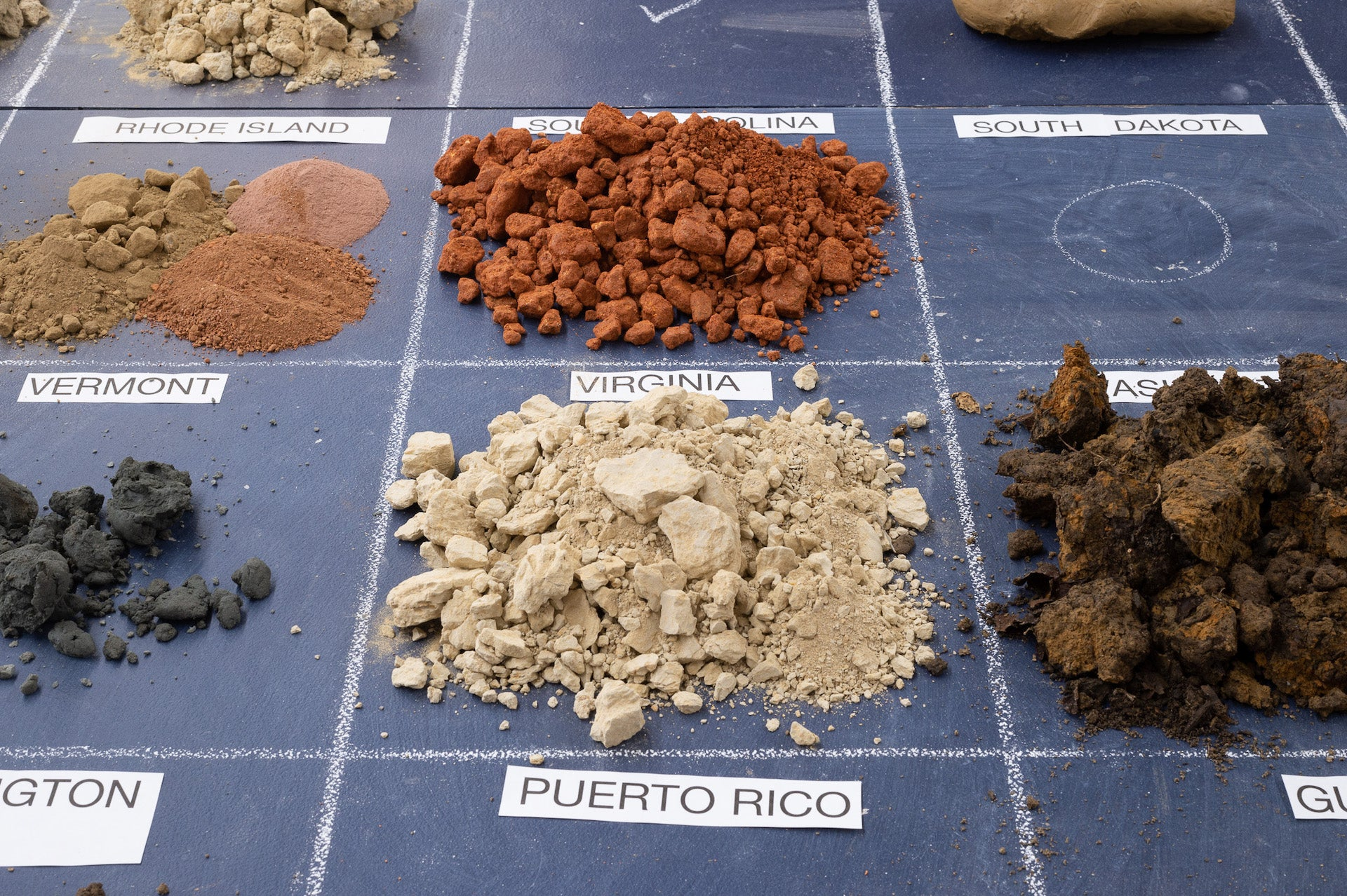 Samples of clay from the 56 US Territories for Common Ground. Photo © Erik Benjamins; Courtesy of Friedman Benda and Adam Silverman