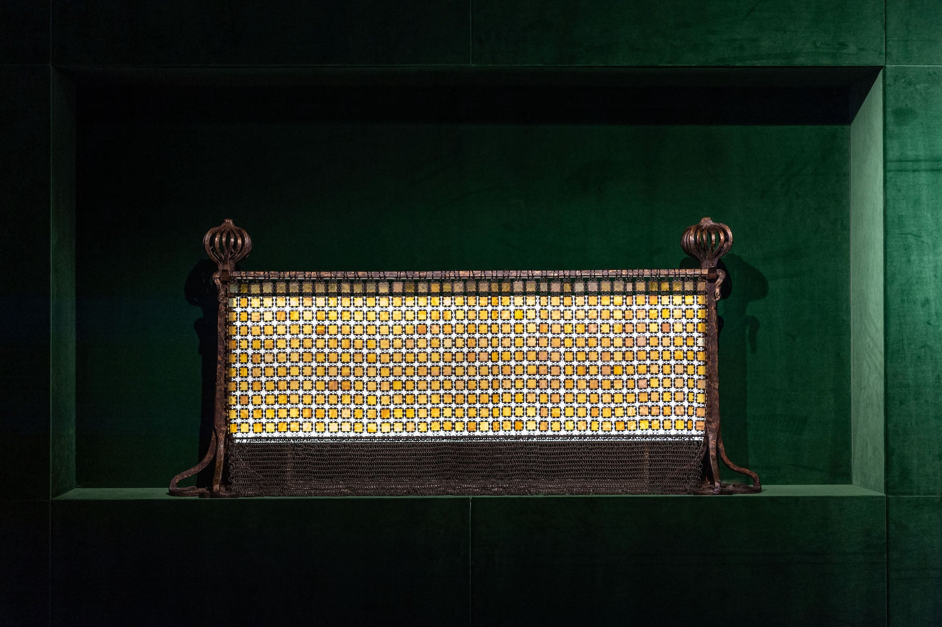 """Unique Chainmail Fire Screen by Tiffany, presented by Geoffrey Diner Gallery. """"An impressive, true collector's item."""" Photo © World Red Eye"""