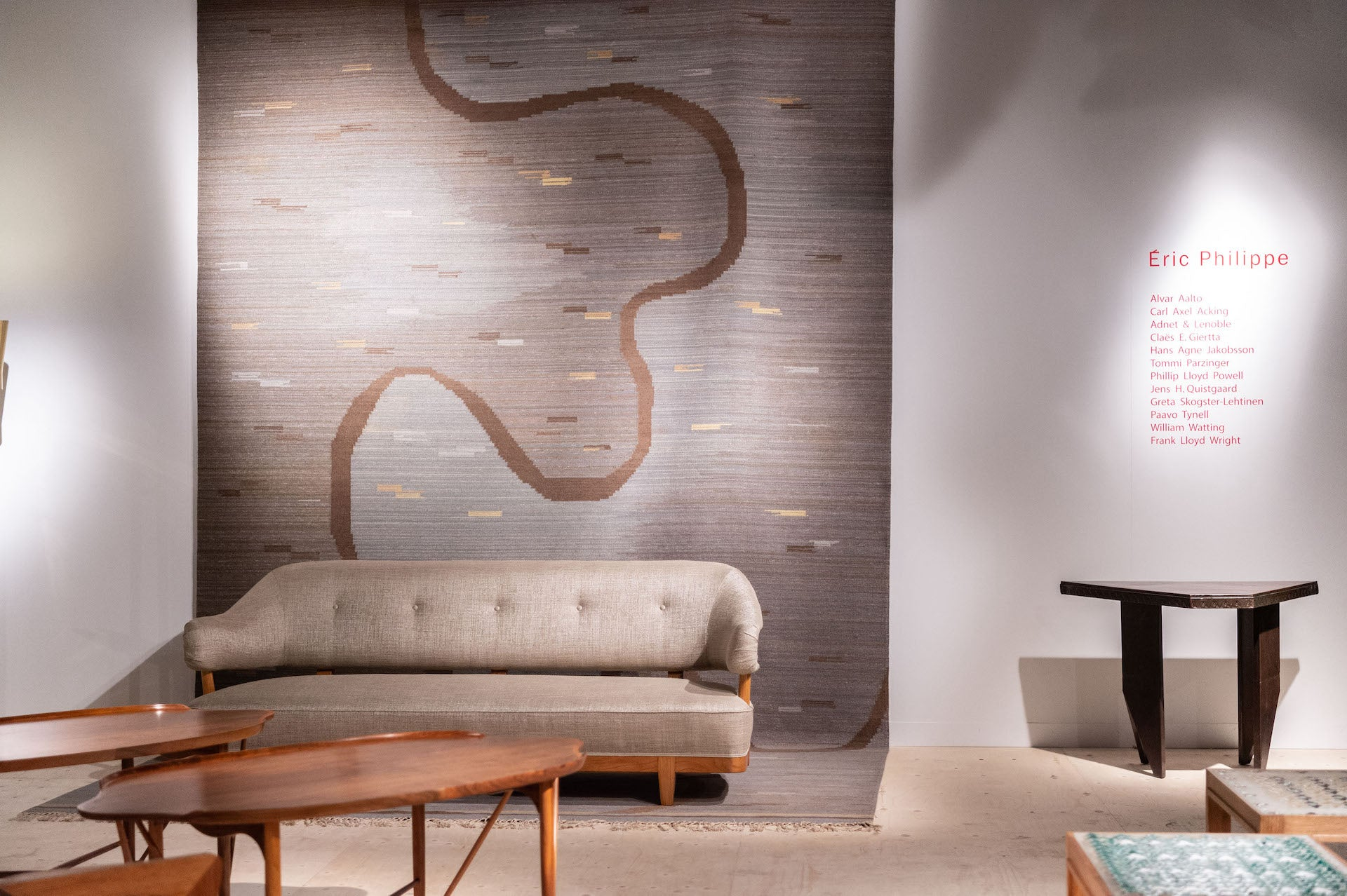 """Scandinavian Carpet & Acking Sofa, presented by Galerie Eric Philippe. """"The presentation of these 2 pieces together is a knockout."""" Photo © World Red Eye"""