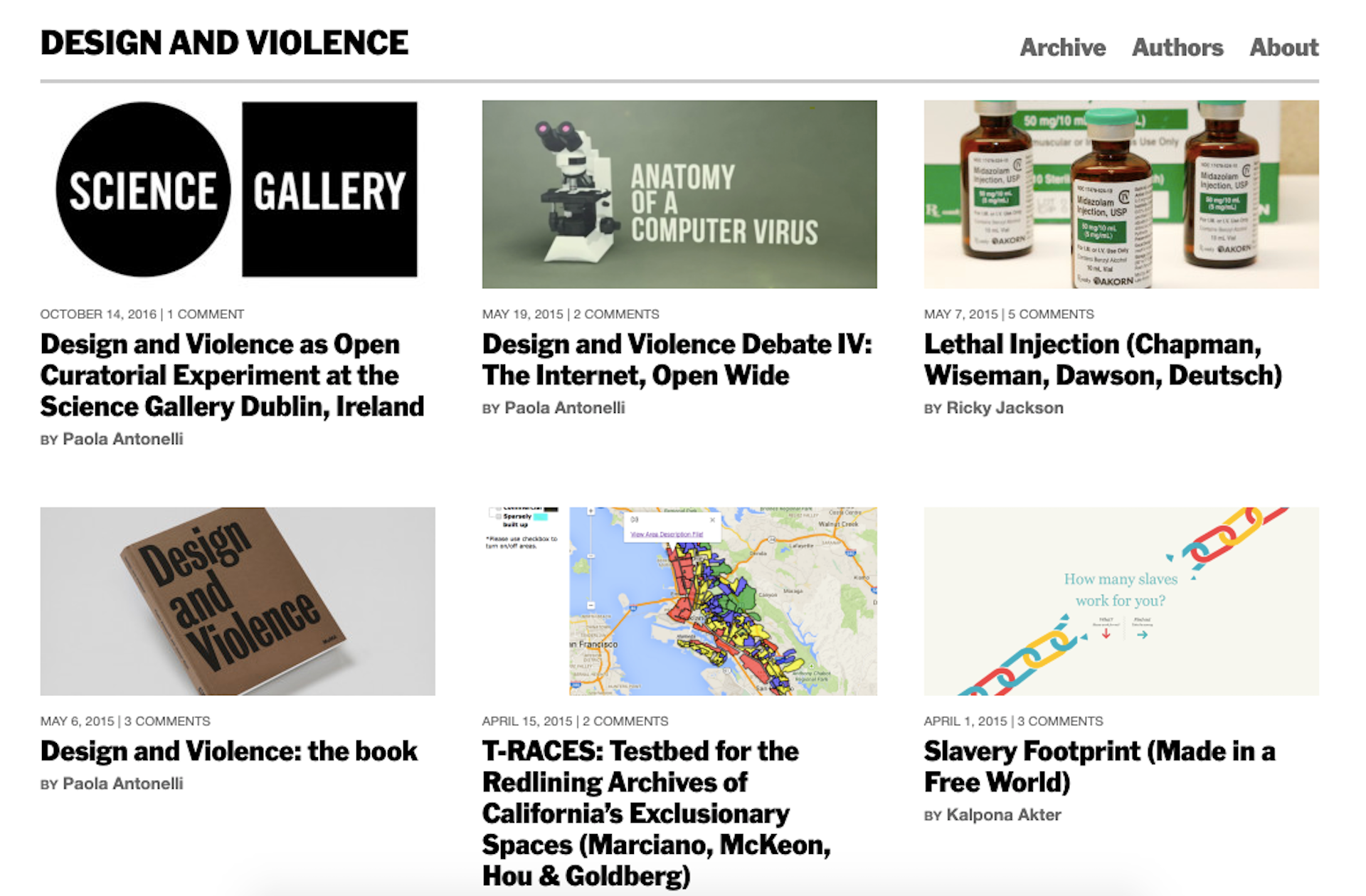 Screenshot from the Design and Violence website. Courtesy of Paola Antonelli