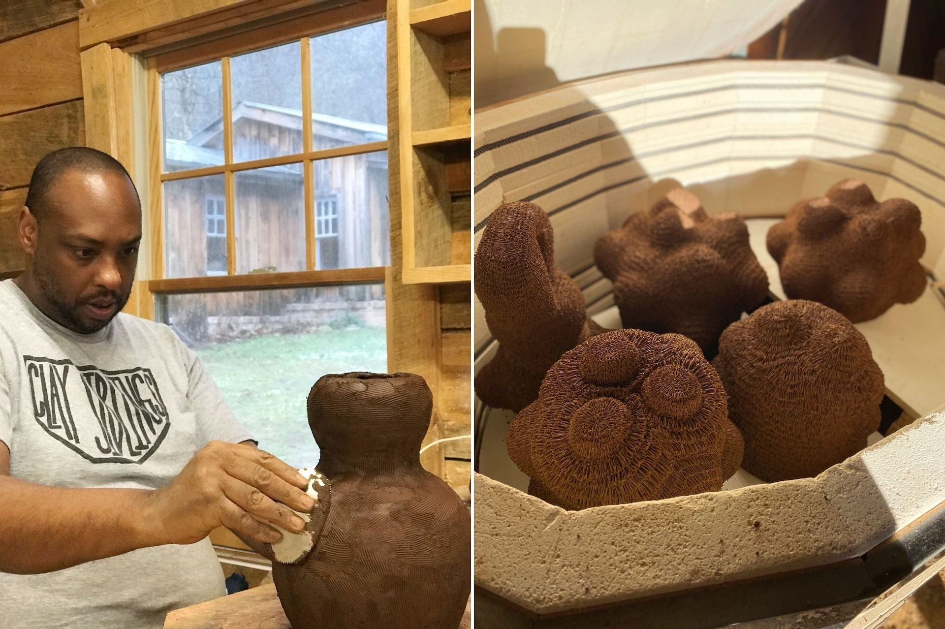 Hayes creates a form, and clay sculptures are loaded in the kiln, ready to be fired. Both photos taken during Hayes' Township10 residency in the Blue Ridge Mountains. Photos © Kyle Lawson (left) and Donté Hayes (right); courtesy of Donté Hayes