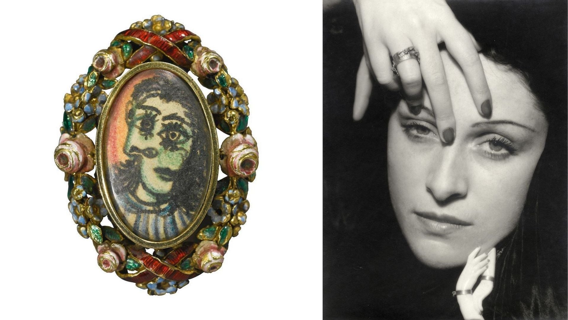 Portrait of Dora Maar Ring by Pablo Picasso, late 1930s. Dora Maar, photographed by Man Ray. Photos courtesy of Didier Ltd.