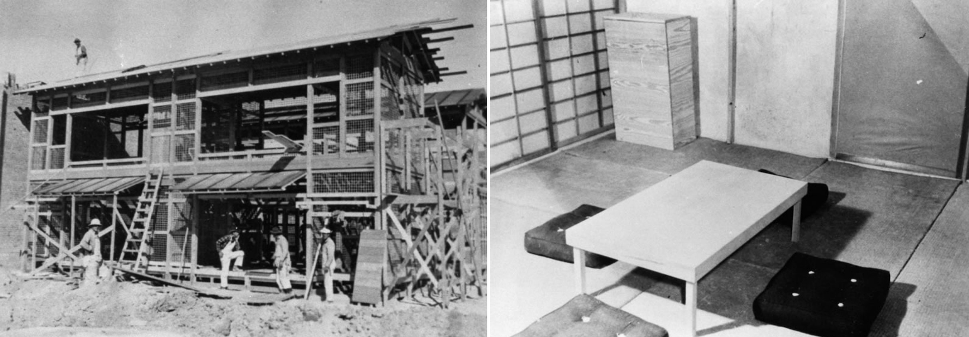 Building the Japanese village in the Dugway Proving Grounds, Utah, 1943. Interior of a home in the Japanese village. Photos in public domain