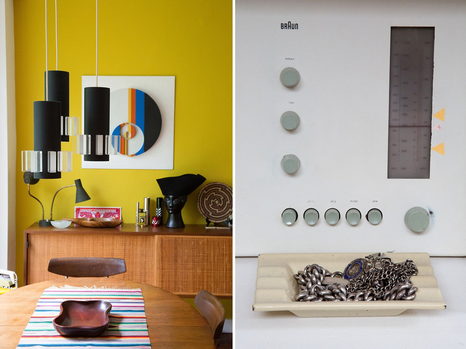 The interior of Simon Andrew's London home alongside his Braun Radio. Photos © Tom Harford Thompson