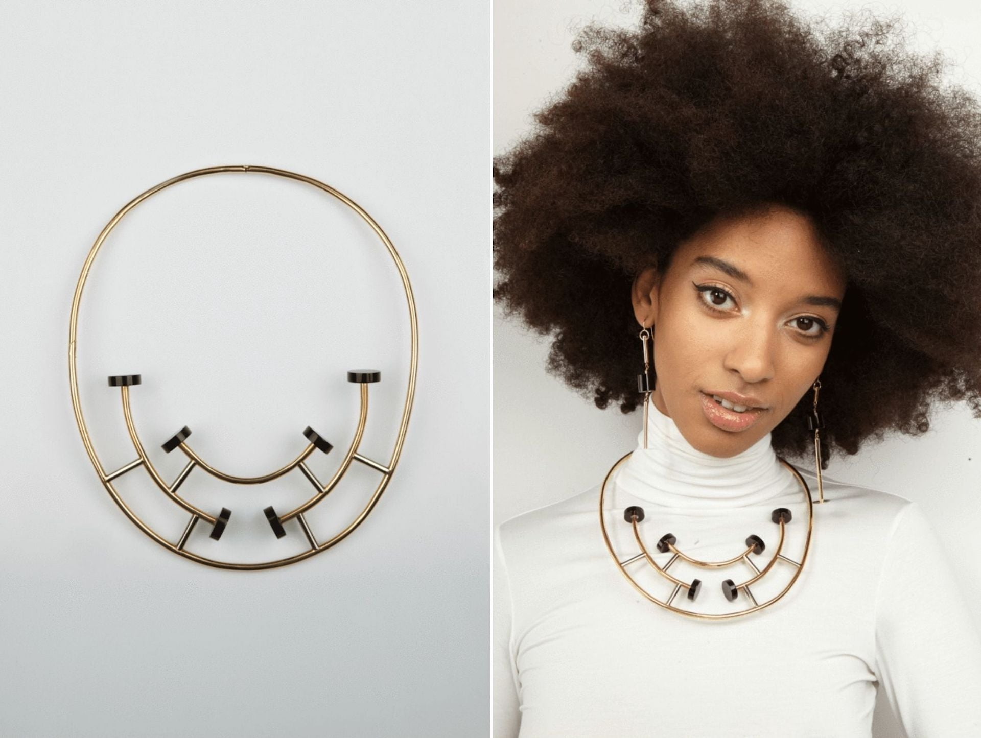 18 Carat Gold & Black Onyx Necklace by Ettore Sottsass, 1984-1986. Ettore Sottsass worn by model. Photos © Didier Ltd.