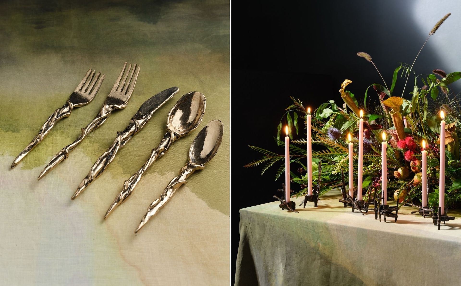 Bronze Silverware and Candlesticks by Farrell Hundley for The Feast. Photos © DM/BX