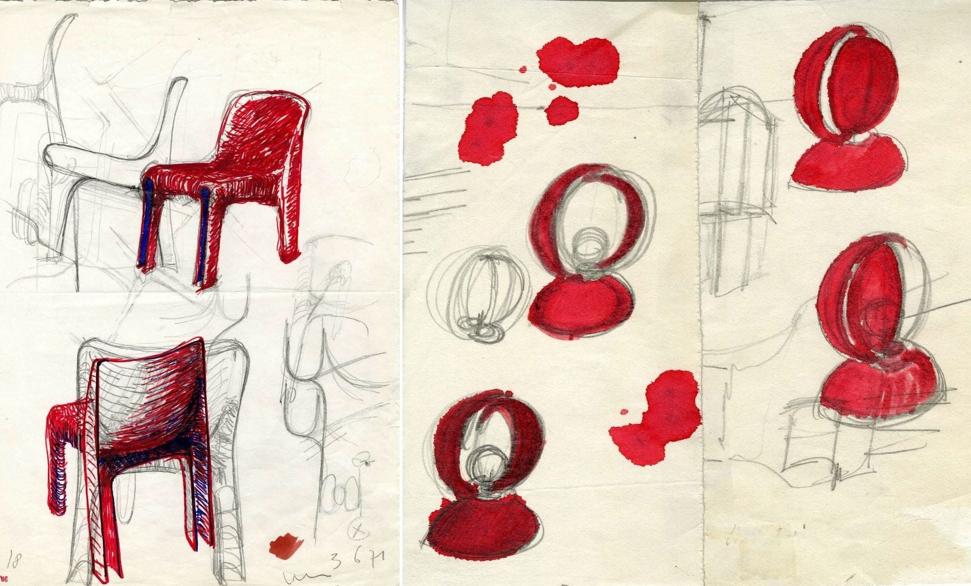Vico Magistretti's sketches for two of his most iconic designs: the Selene Chair (1969) and Eclisse Lamp (1965), both produced by Artemide. Photos © Fondazione Studio Museo Vico Magistretti