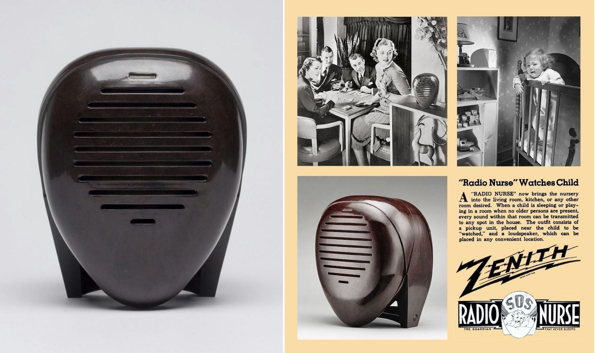 Isamu Noguchi's first industrial commission the Radio Nurse (1937) can be found in museum collections around the world. Photo © The Isamu Noguchi Foundation and Garden Museum , New York / Artists Rights Society (ARS), New York; courtesy of the Philadelphia Museum of Art | Zenith advert from 1938, featured in Mother's Little Helpers: Technology in the American Family by Hannah Zeavin, to be published by MIT Press in 2023