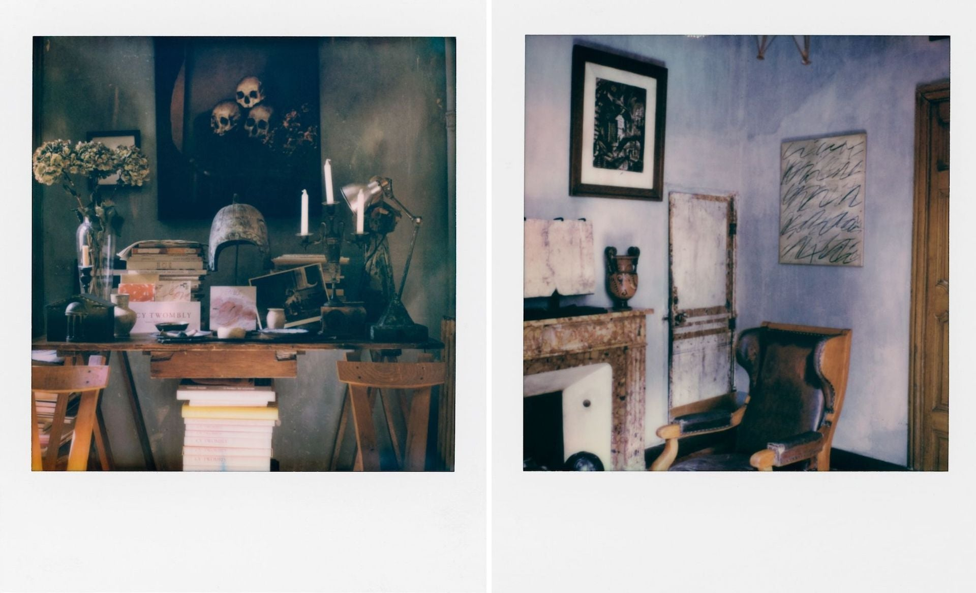 Photographs from 56 days in Arles by François Halard. At right, Cy Twombly's Roman Notes hang on the wall of Halard's home in Arles. © 2021 François Halard and Libraryman