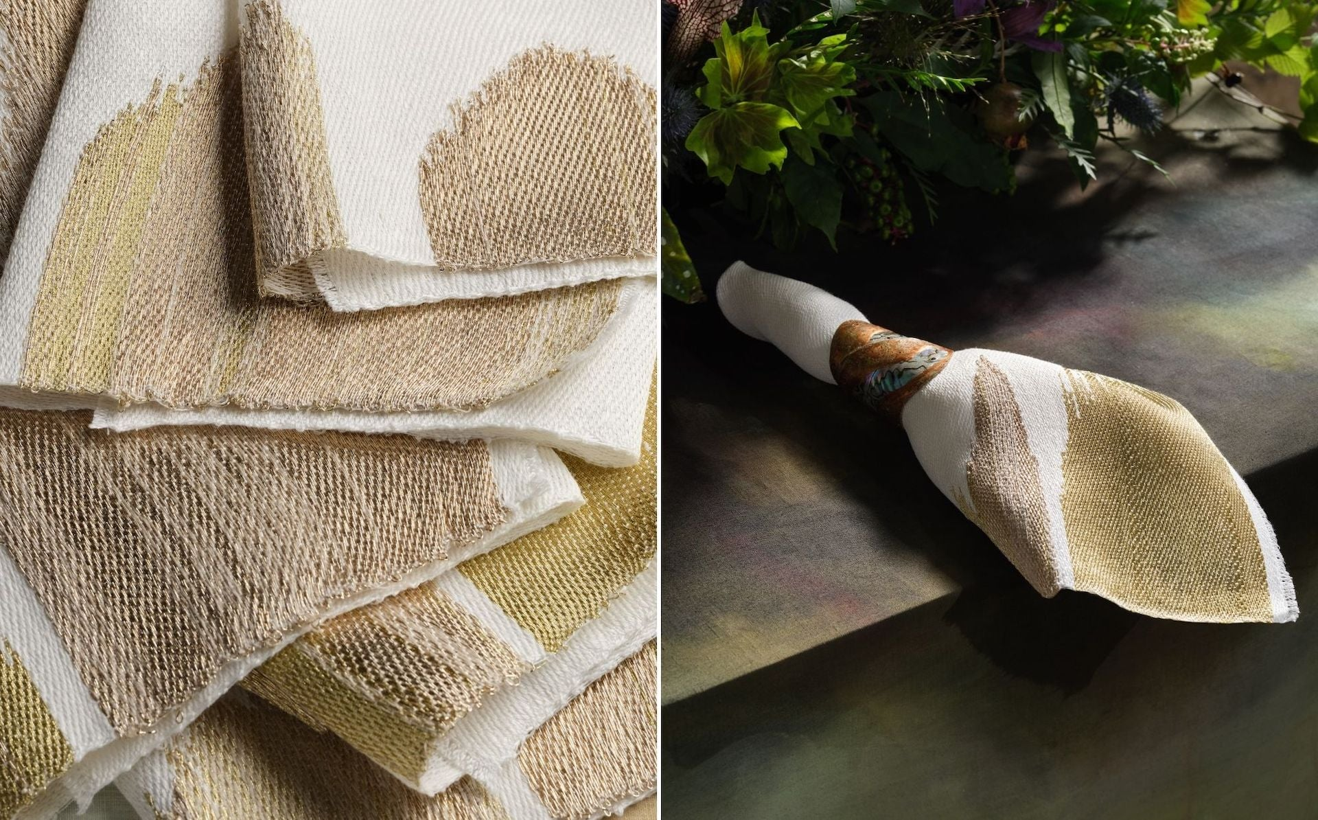 Linen and Metallics Napkins by Hiroko Takeda for The Feast. Photos © DM/BX