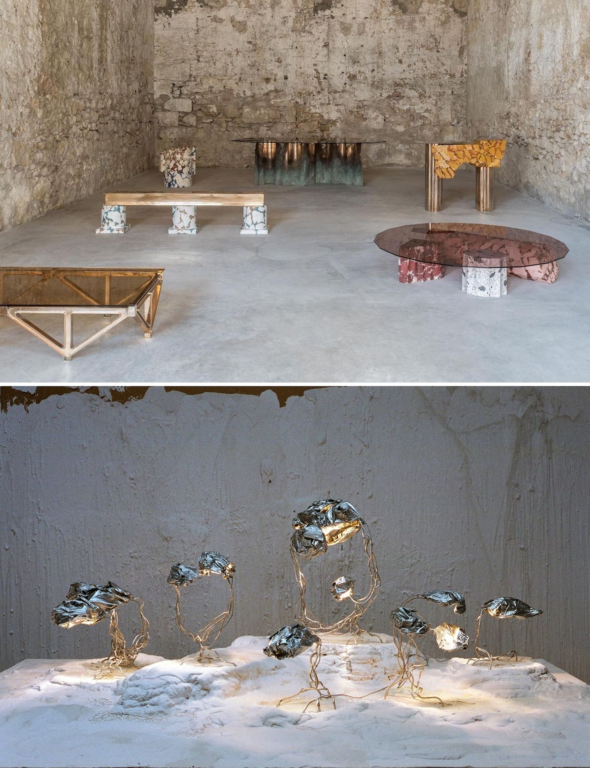 Design objects born of the Encoded Symbols residency in Turin. Top: RUINS: Encoded Symbols by Roberto Sironi at Carwan Gallery. Photo © Giorgos Sfakianakis; courtesy of Carwan Gallery | Bottom: Encoded Symbols: Protoplasting Nature by Marcin Rusak. Photo by Kasia Bielska; © Marcin Rusak Studio