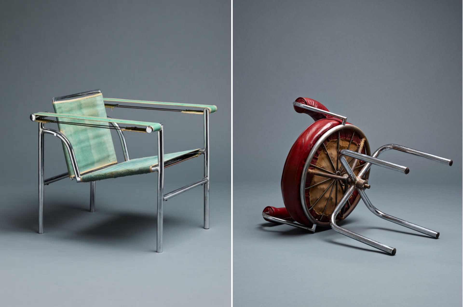 Armchair Siège à Dossier Basculant, 1929, and Swivel Chair Siège Pivotant, 1927, both by Le Corbusier, Charlotte Perriand, and Pierre Jeanneret. Photos © Galerie Ulrich Fiedler